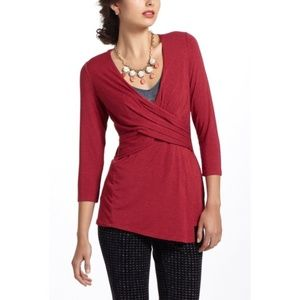 Anthropologie One September Red Wrap Blouse